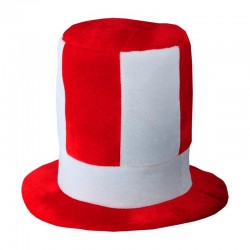 Kapelusz kibica, biały/czerwony