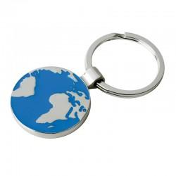 Brelok metalowy Globe, srebrny/niebieski