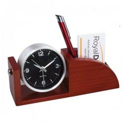 Zegar biurkowy z przybornikiem Aosta, brązowy - druga jakość