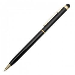 Długopis aluminiowy Touch Tip Gold, czarny