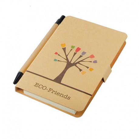 Notes 80x140/50k gładki Tree z długopisem, brązowy
