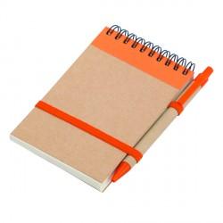Notes Kraft 90x140/70k gładki z długopisem, pomarańczowy/beżowy