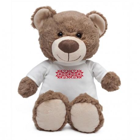 Maskotka Big Teddy w koszulce z motywem świątecznym, brązowy