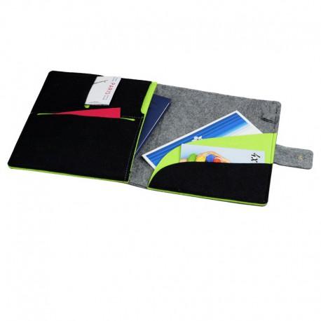 Teczka z filcu na tablet Eco-Sense, szary/zielony