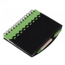 Notatnik 130x175/70k kratka z długopisem Estepona, zielony/czarny