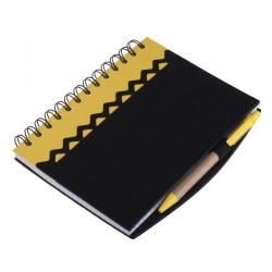 Notatnik 130x175/70k kratka z długopisem Estepona, żółty/czarny