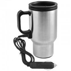 Samochodowy kubek izotermiczny Car Comfort 420 ml z podgrzewaczem, srebrny/czarny