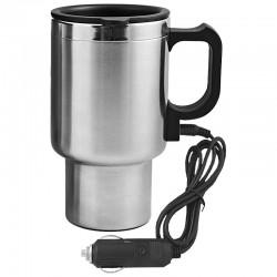 Samochodowy kubek izotermiczny z podgrzewaczem Auto Steel Mug 400 ml, srebrny/czarny