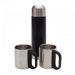 Termos Picnic Mate 480 ml z 2 kubkami, czarny/srebrny