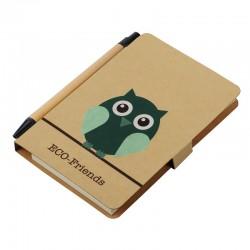Notes 80x140/50k gładki Owl z długopisem, brązowy