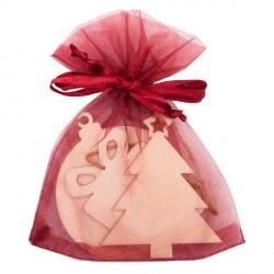 Zestaw drewnianych ozdób świątecznych w woreczku, bordowy
