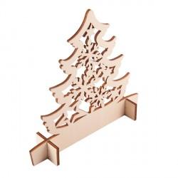 Drewniana wycinanka choinka Christmas tree, beżowy