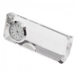 Kryształowy przycisk do papieru z zegarem Cristalino, transparentny