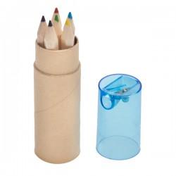 Zestaw 6 kredek w tubie z temperówką, niebieski