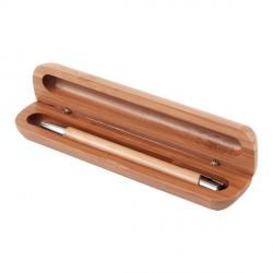 Długopis Vizela w bambusowym etui, brązowy