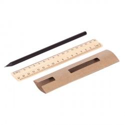 Ołówek z linijką - zestaw Simple, beżowy