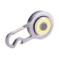 Lampka COB z karabińczykiem, srebrny