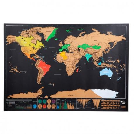 Mapa świata-zdrapka Rolling Stone, brązowy