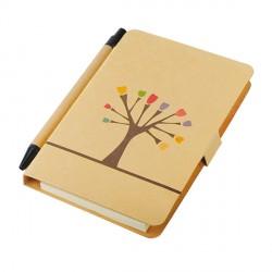 Notes 80x140/50k gładki Tree z długopisem, brązowy, beżowy