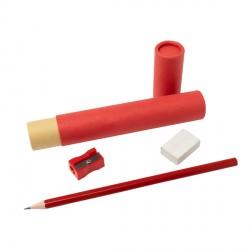 Zestaw szkolno-biurowy Tubey, czerwony