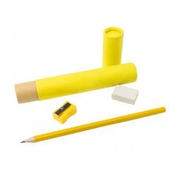 Zestaw szkolno-biurowy Tubey, żółty