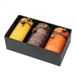 Zestaw świec zapachowych, brązowy/żółty
