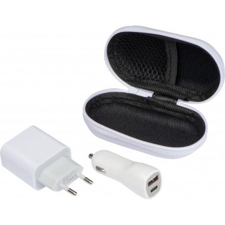 Zestaw podróżny - ładowarka samochodowa oraz wtyczka ładująca USB i USB typu C