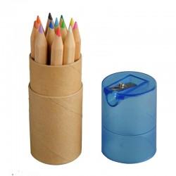 Zestaw 12 kredek w tubie z temperówką, niebieski