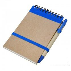 Notes eco 90x140/70k gładki z długopisem, niebieski/beżowy