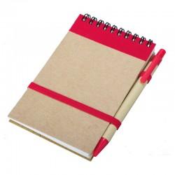 Notes Kraft 90x140/70k gładki z długopisem, czerwony/beżowy