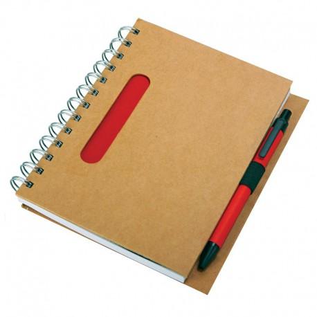 Notes eco z długopisem, czerwony/beżowy