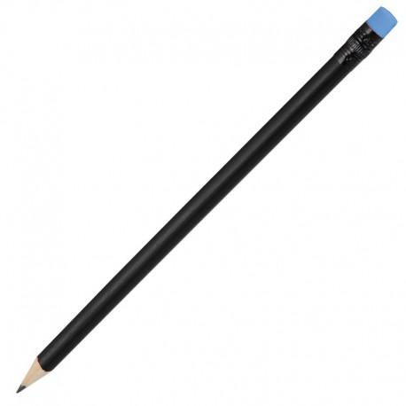 Ołówek drewniany, niebieski/czarny