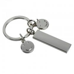 Brelok metalowy Flat, srebrny