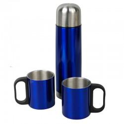Metalowy termos Picnic 480 ml + 2 kubki, niebieski/srebrny
